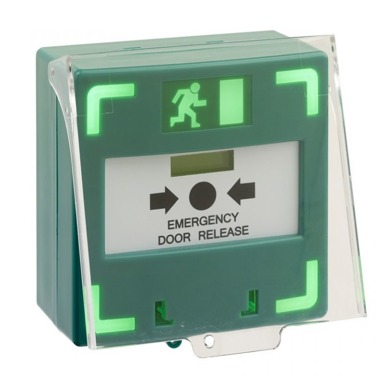 Green surface mount triple pole resettable break glass with LED & sounder