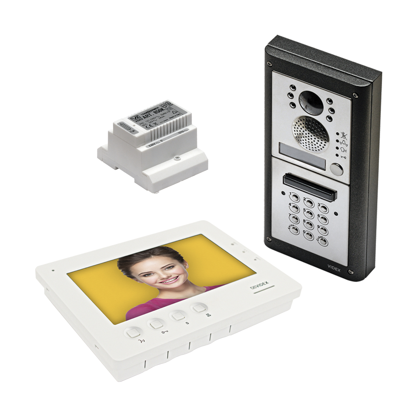 1 button 4000 Series Colour Video Kit (surface) with codelock and 6700 series videophone