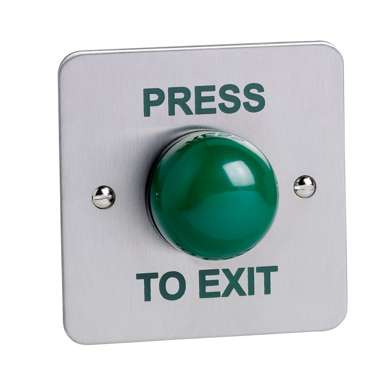 "Flush mount high impact green dome button screen printed ""PRESS TO EXIT"""