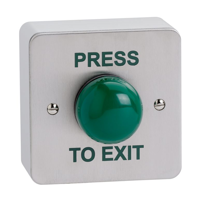 """Surface mount high impact green dome button screen printed """"PRESS TO EXIT"""""""