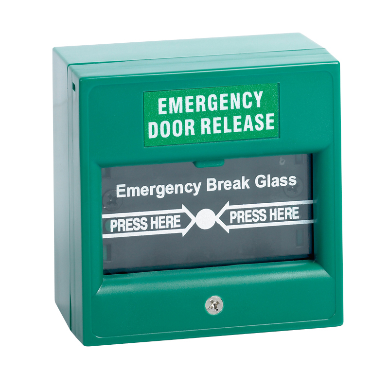 Green surface mount double pole break glass unit