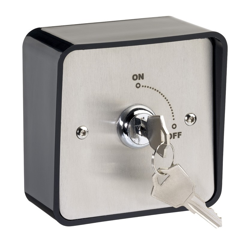 Surface mount stainless steel maintained key switch