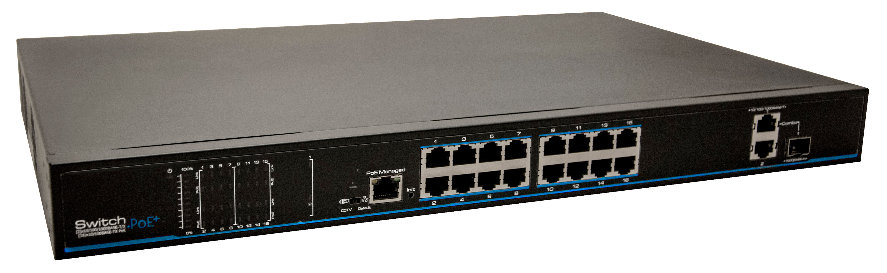 High Powered 16 Port PoE Switch
