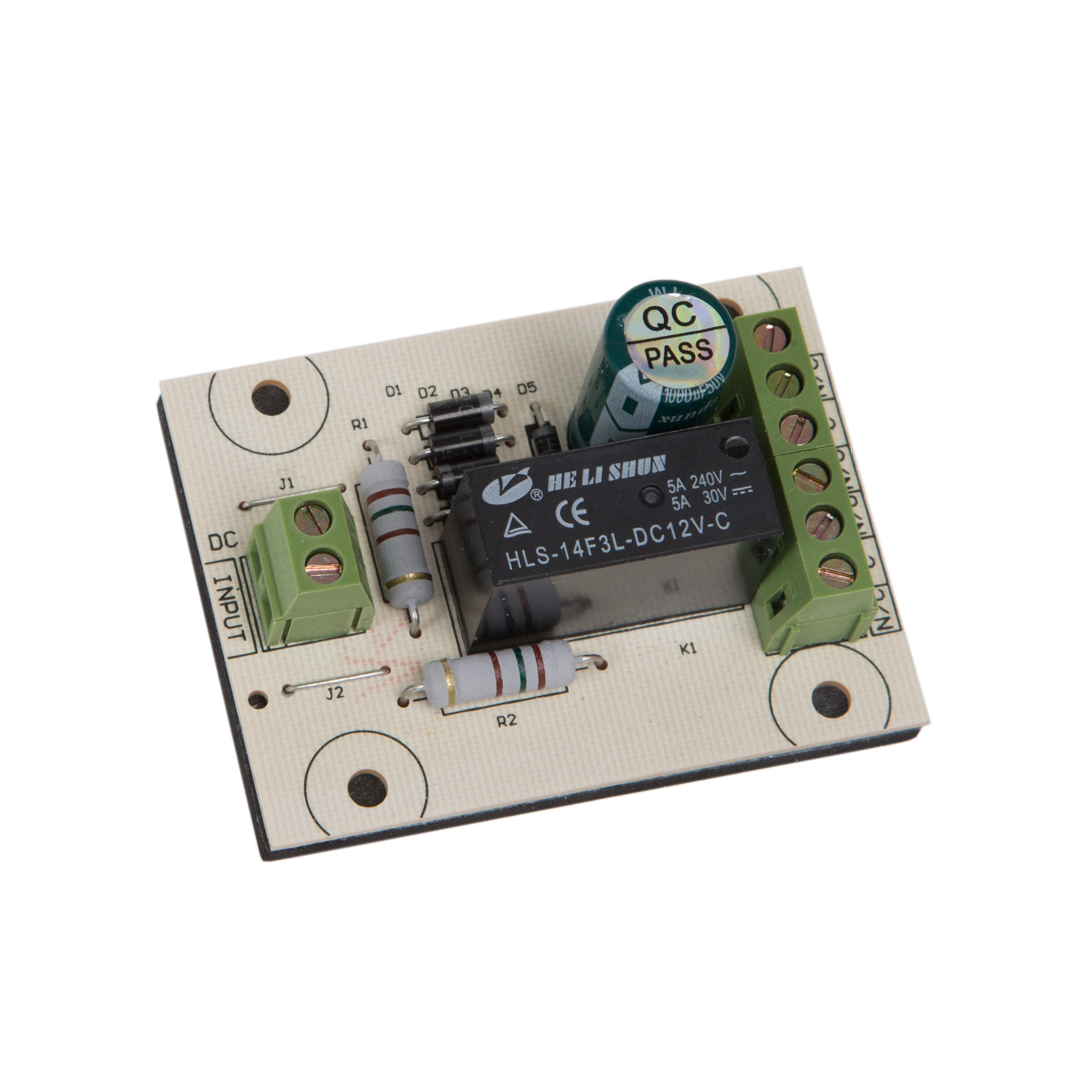 Relay to operate a low current input at 12VDC/AC to switch a higher voltage at 5Amps.