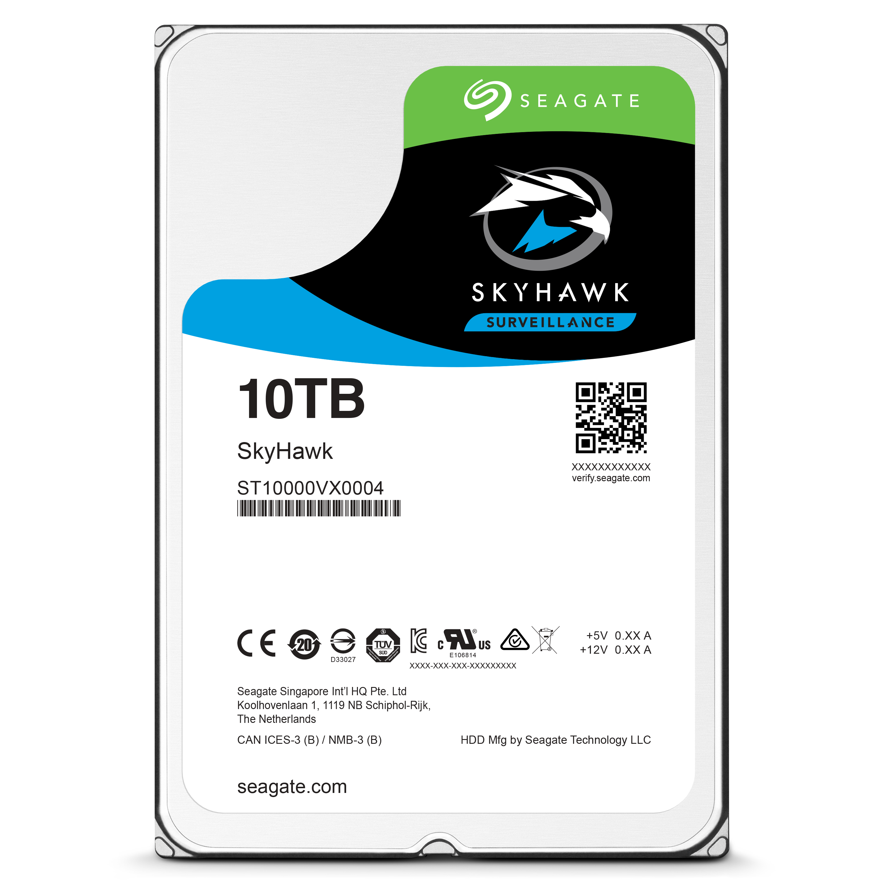 "SkyHawk 10TB 3.5"" NVR optimized Drive for 1-64 camera CCTV Systems"