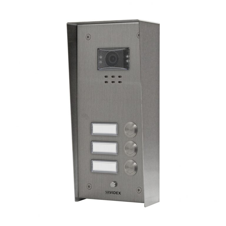 3 button with nameplate Vandal Resistant IP Colour Video Panel (surface)