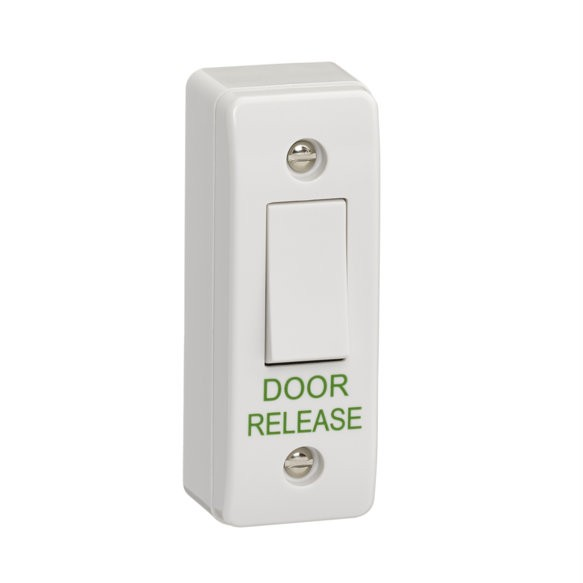 "Architrave plastic surface mount exit button engraved ""DOOR RELEASE"""