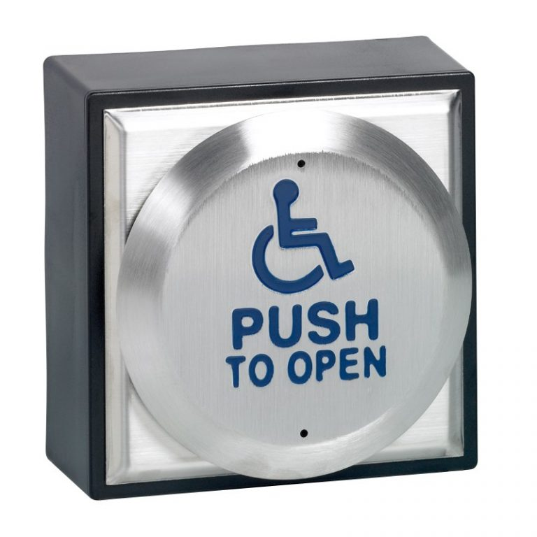 """Surface mount large exit button with disabled logo engraved """"PUSH TO OPEN"""""""
