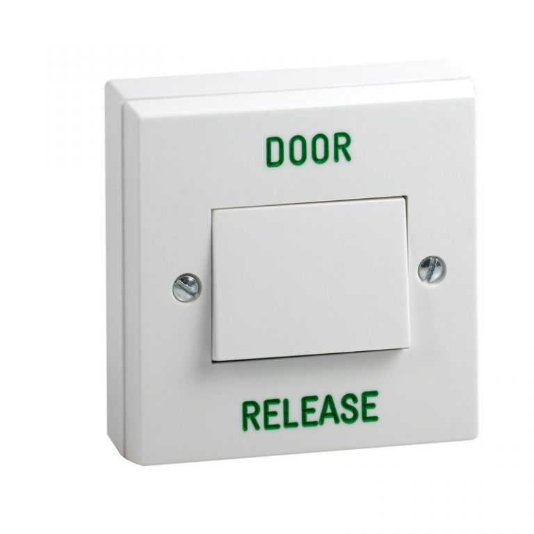 """Surface mount plastic exit button with wide switch engraved """"DOOR RELEASE"""""""