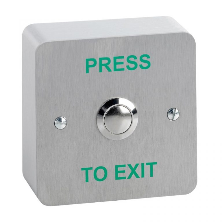 "Flush mount stainless steel exit button screen printed ""PRESS TO EXIT"""
