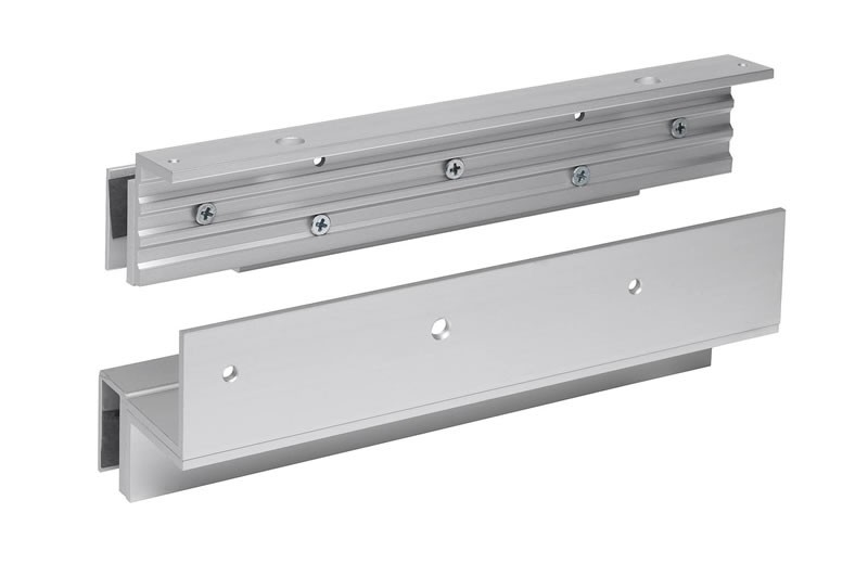 Z & L bracket set for glass doors with glass header