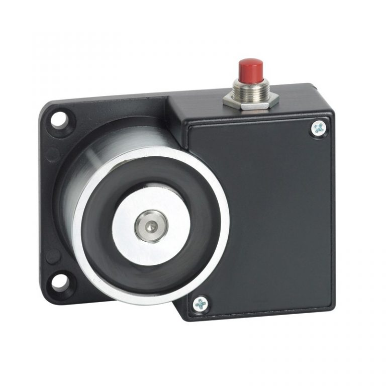 Surface mount door retaining magnet with override button