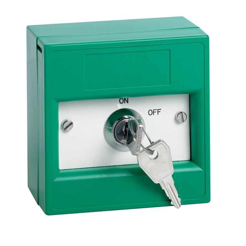 Key switch enclosed in a green break glass unit