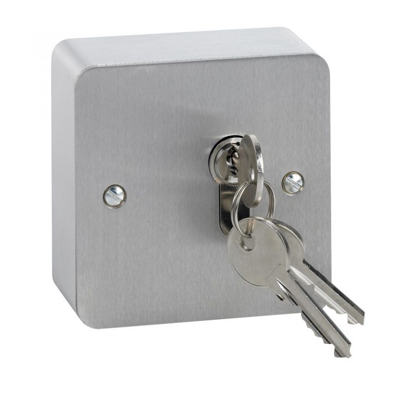 Surface stainless steel maintained single pole euro profile key switch