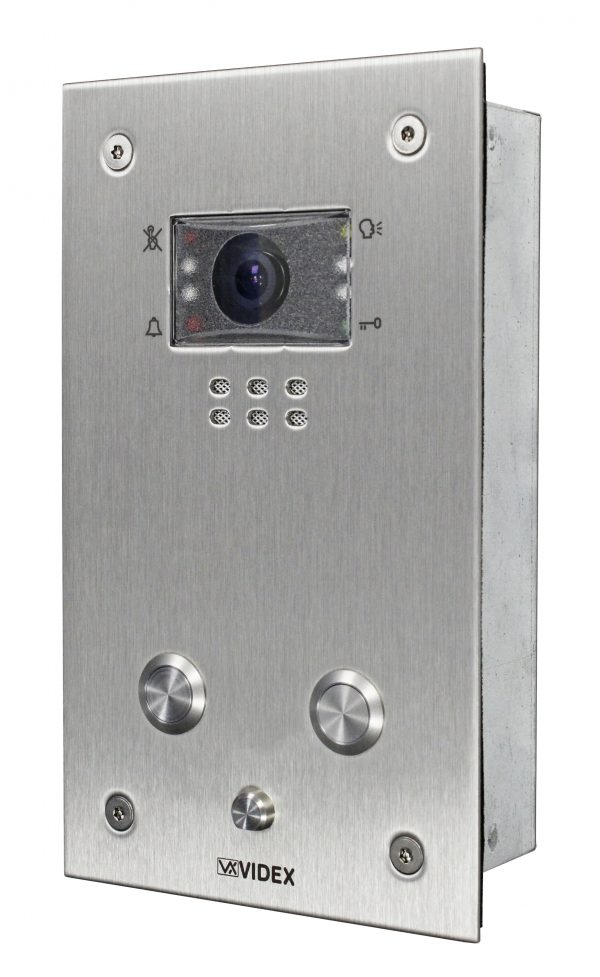 Additional 2 button flush V/R colour video panel (max 8 per system)