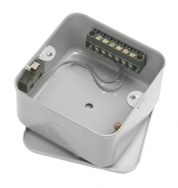 Tamper switched 6-Way single gang security junction box
