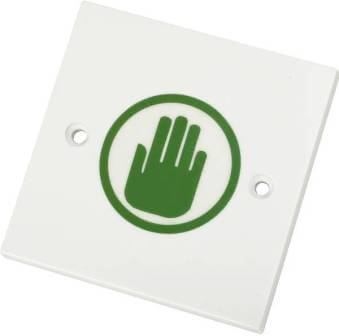 Request to exit (RTE) proximity switch with green hand logo