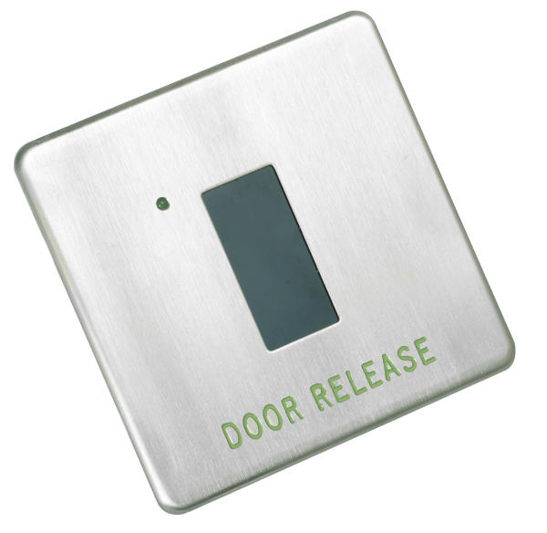Stainless steel proximity request to exit (RTE) switch with 'DOOR RELEASE' etching