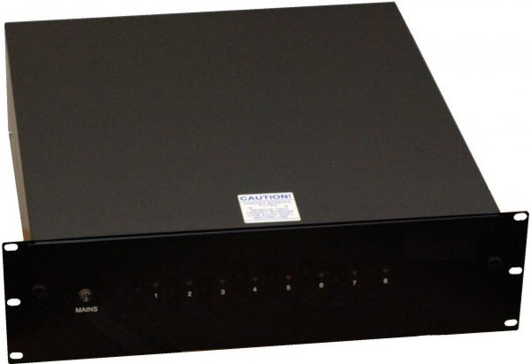 Rack-mount 8x 12V 1A DC PSU with UPS & monitoring