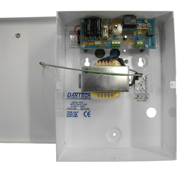 12V 1.5A DC Power supply with integrated UPS & monitoring