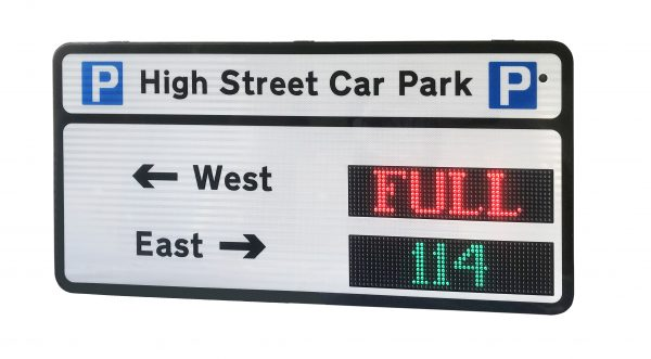 Multi-level sign housing with one high Intensity RGB LED sign with 10cm high characters