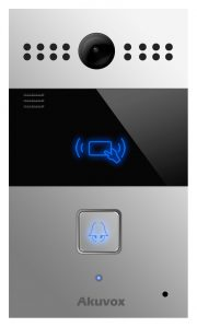 SIP Intercom with 1 Call Button (Video & Card Reader), incl. Flush Mount Backbox