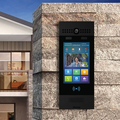 SIP Touchscreen Intercom with Dual Camera, QR Code, Card Reader and Secure Facial Recognition, Black